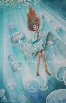 Woman floating under turquoise colored water among moon jellyfish.