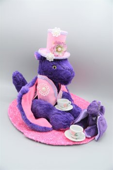Handmade purple and pink dragon with handmade hat, vest, pocket dragon, two tea cups and saucers and tea mat.