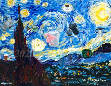 Mastercopy of Vincent Van Gogh's 'The Starry Night' with a 21st-Century update of coffee cups, teapots and flying saucers. Original and prints available on my website at https://afinelikeness.com/shop/