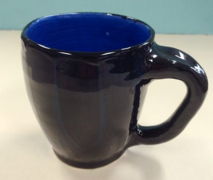 12 oz. ceramic mug, dishwasher/microwave safe, cobalt int. w/ black ext, subtle blue vert drips