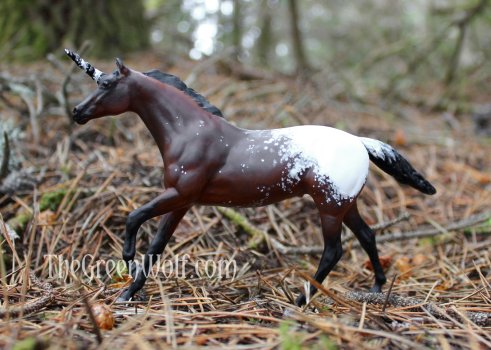 Model horse resculpted and repainted to bay appaloosa unicorn