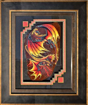 Two flame-winged dragons painted in acrylic on a large slab of Mahogany Obsidian, framed. https://www.theresamatherfantasyshop.com/dir/index.php?rt=product/product&product_id=513 alt-text for image