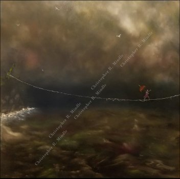 Girl crossing a dark sea on an impossible, tenuous tightrope. alt-text for image