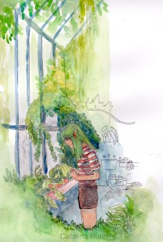 A green haired, brown skinned elf in a red striped shirt and brown shorts admires the plants in a lush, humid greenhouse. Their hands are clapsed together and they have a meditative expression.