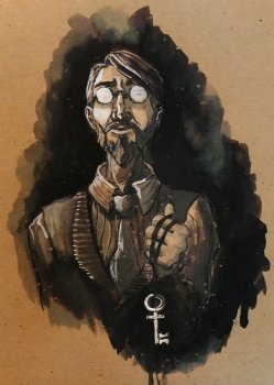 Dr. Bumby Ink Portrait; man with reflective glasses holding a key on a string