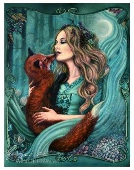 a witch and her fox familiar standing in a garden under the moon