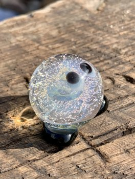 Silver Fume/Dichroic Sprite 1.2 inch Borosilicate glass figure with fine silver fume and purple dichroic inside