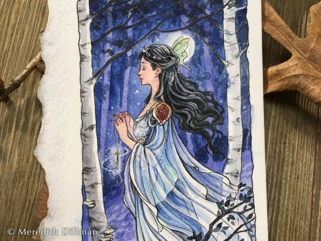 A small watercolor of a woman in a birch forest.